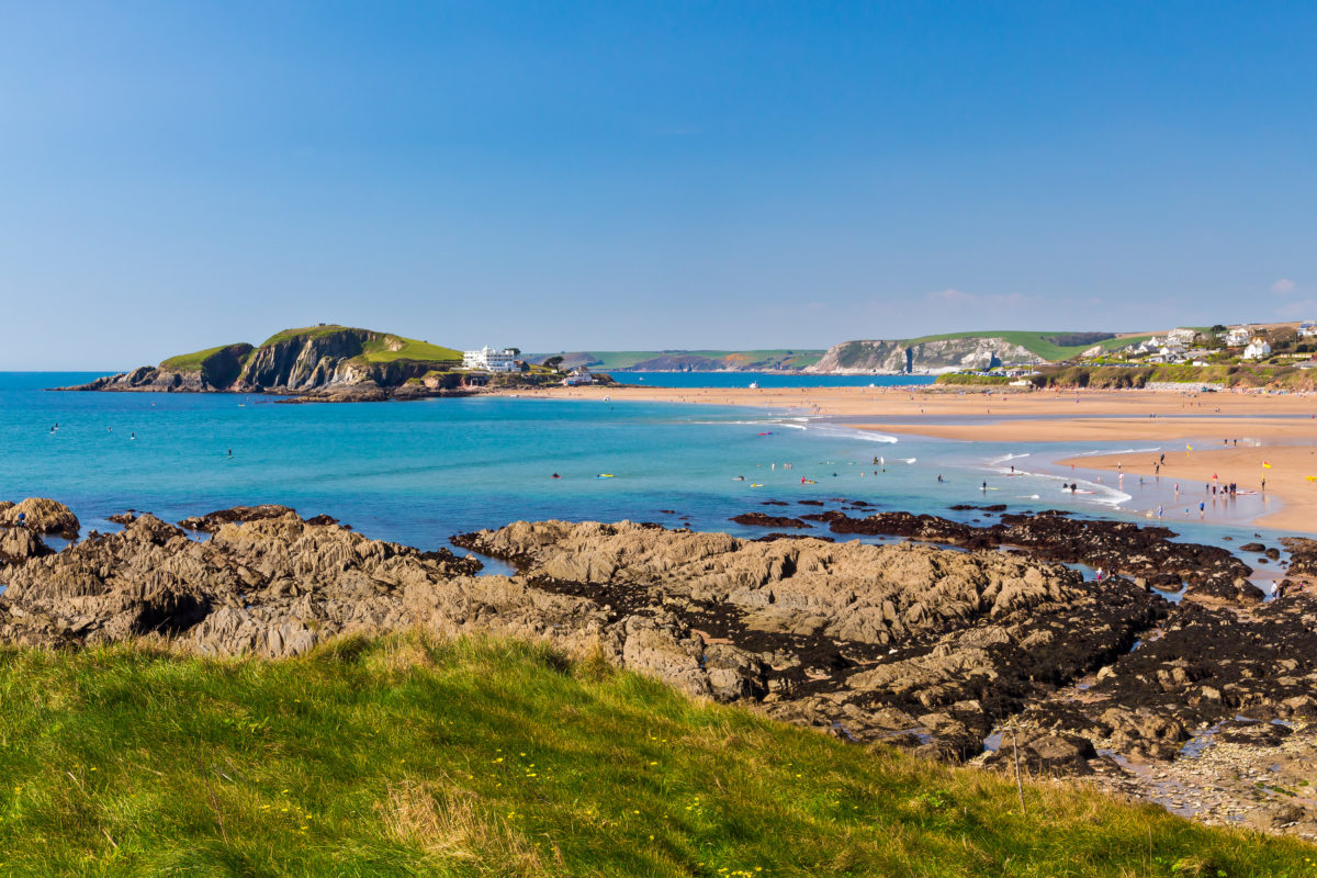 Views towards Burgh Island as seen from Bantham Devon England - one of the South Hams beaches