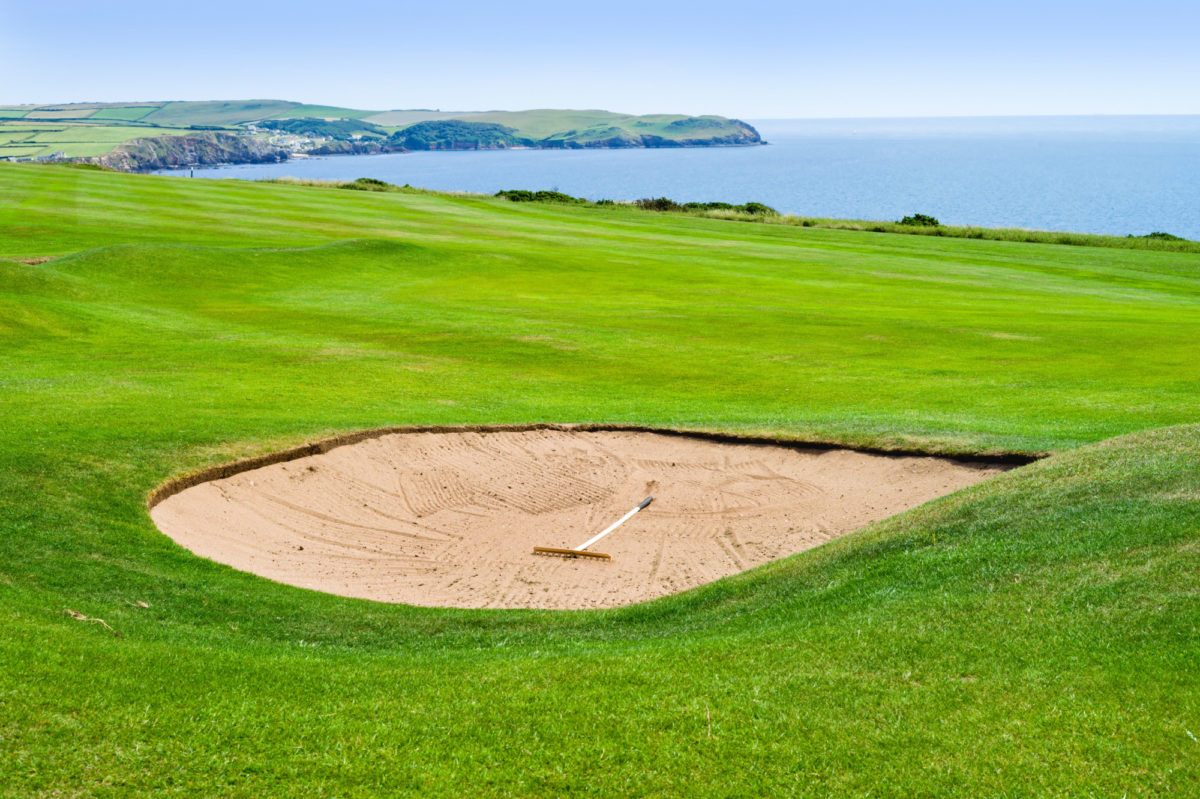 Golf course in Devon overlooking the sea