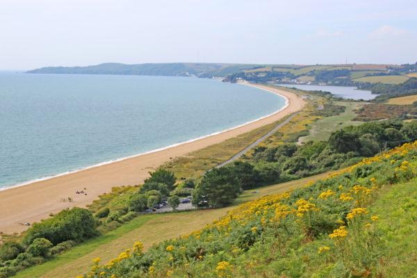 View of Slapton Sands beach and Start Bay in Devon