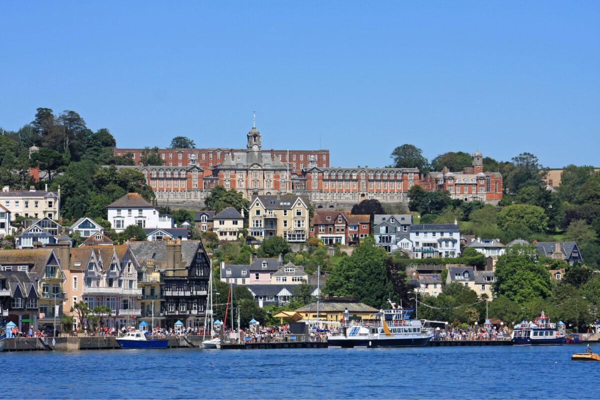 View of Dartmouth across the River Dart in Devon