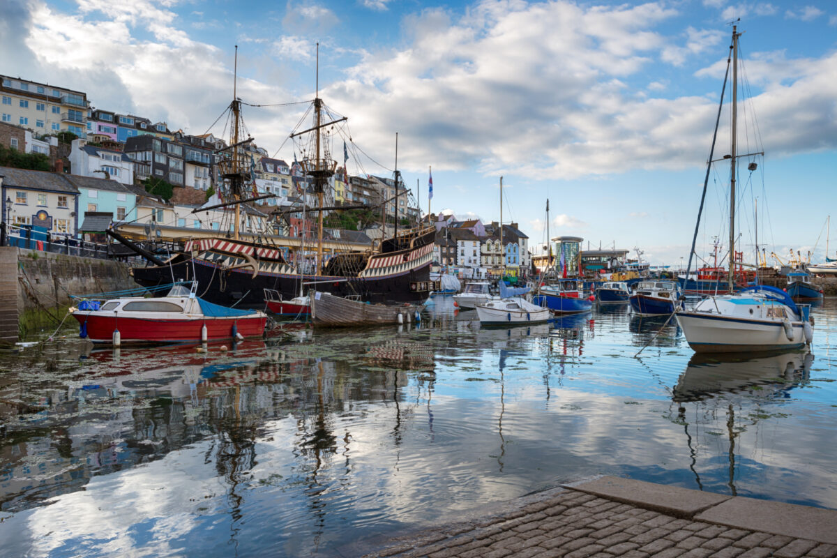 Reflections on the water in Brixham harbour