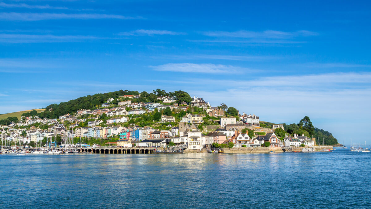 View of Kingswear across the River Dart on a blight day