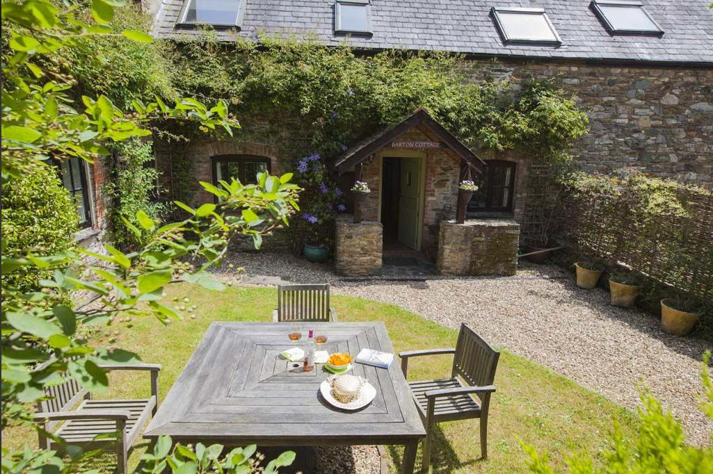 Table in garden of Barton Cottage in Devon
