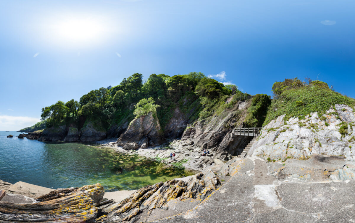 View across Castle Cove - one of the Dartmouth beaches you can walk to from town