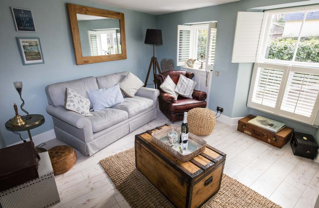 Living area at Lily Cottage in Dartmouth