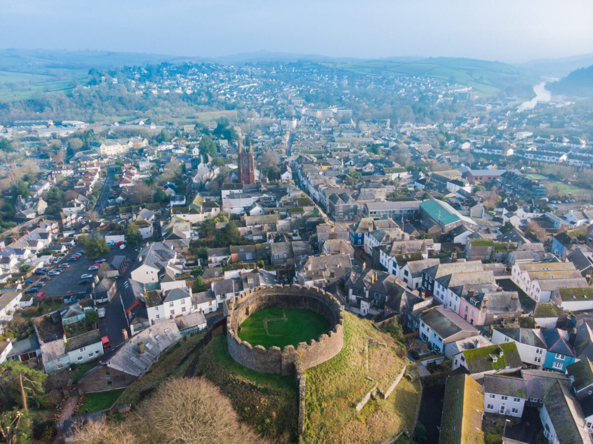 Totnes Castle and town from above