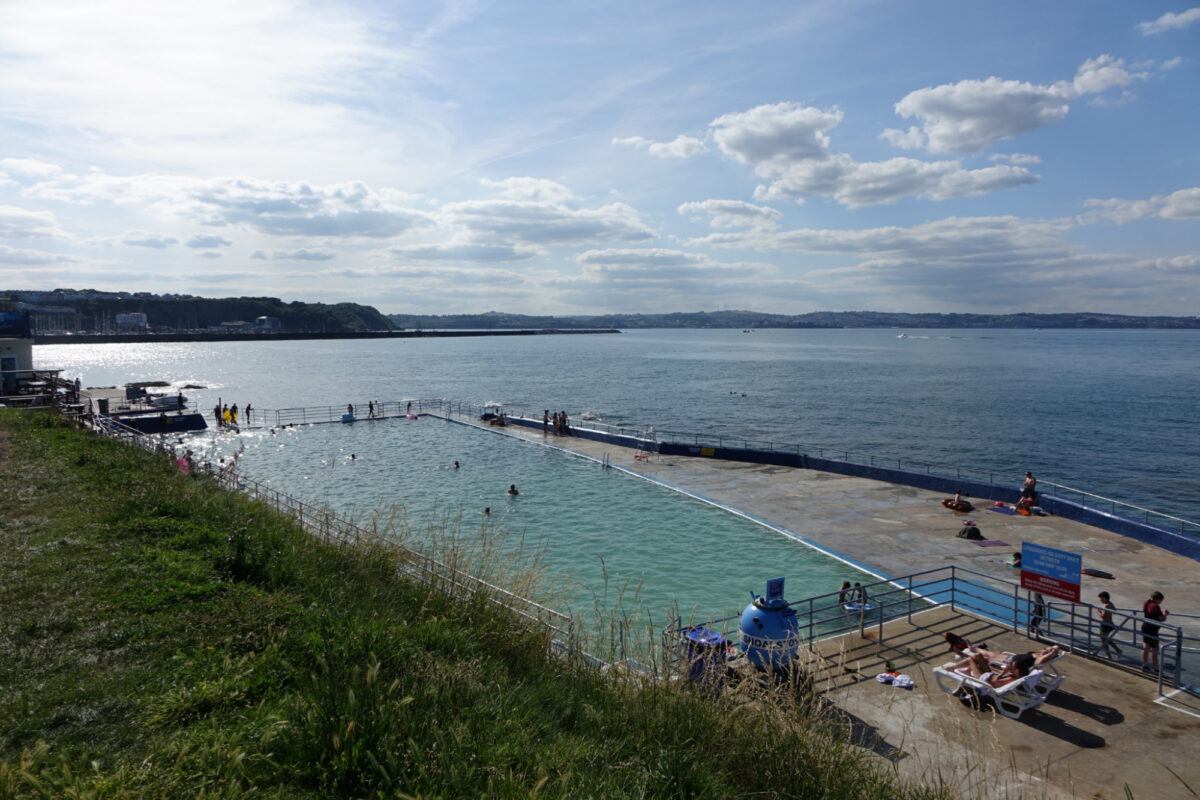 View of Shoalstone outdoor swimming pool in Brixham South Devon