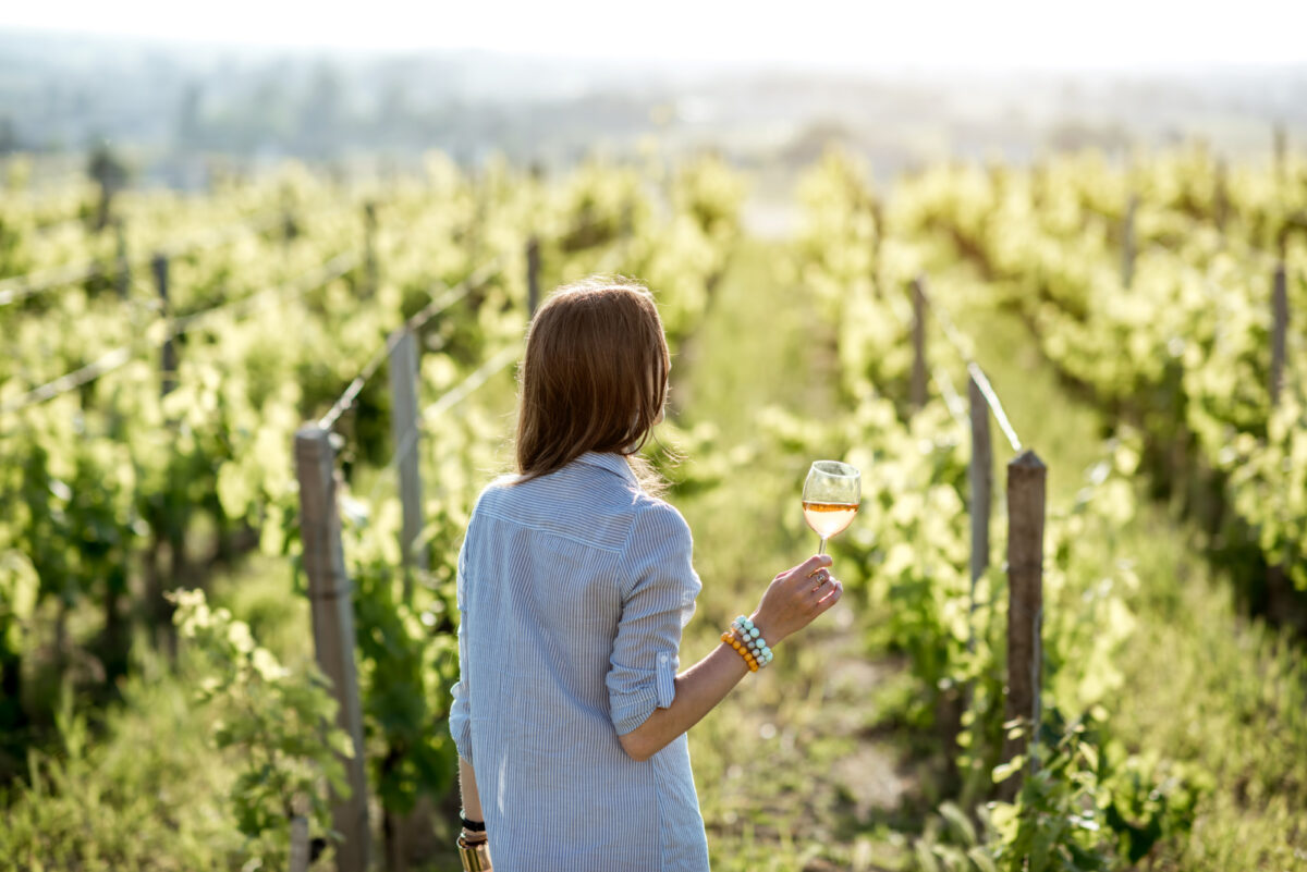 Woman holding glass of wine in front of grape vines