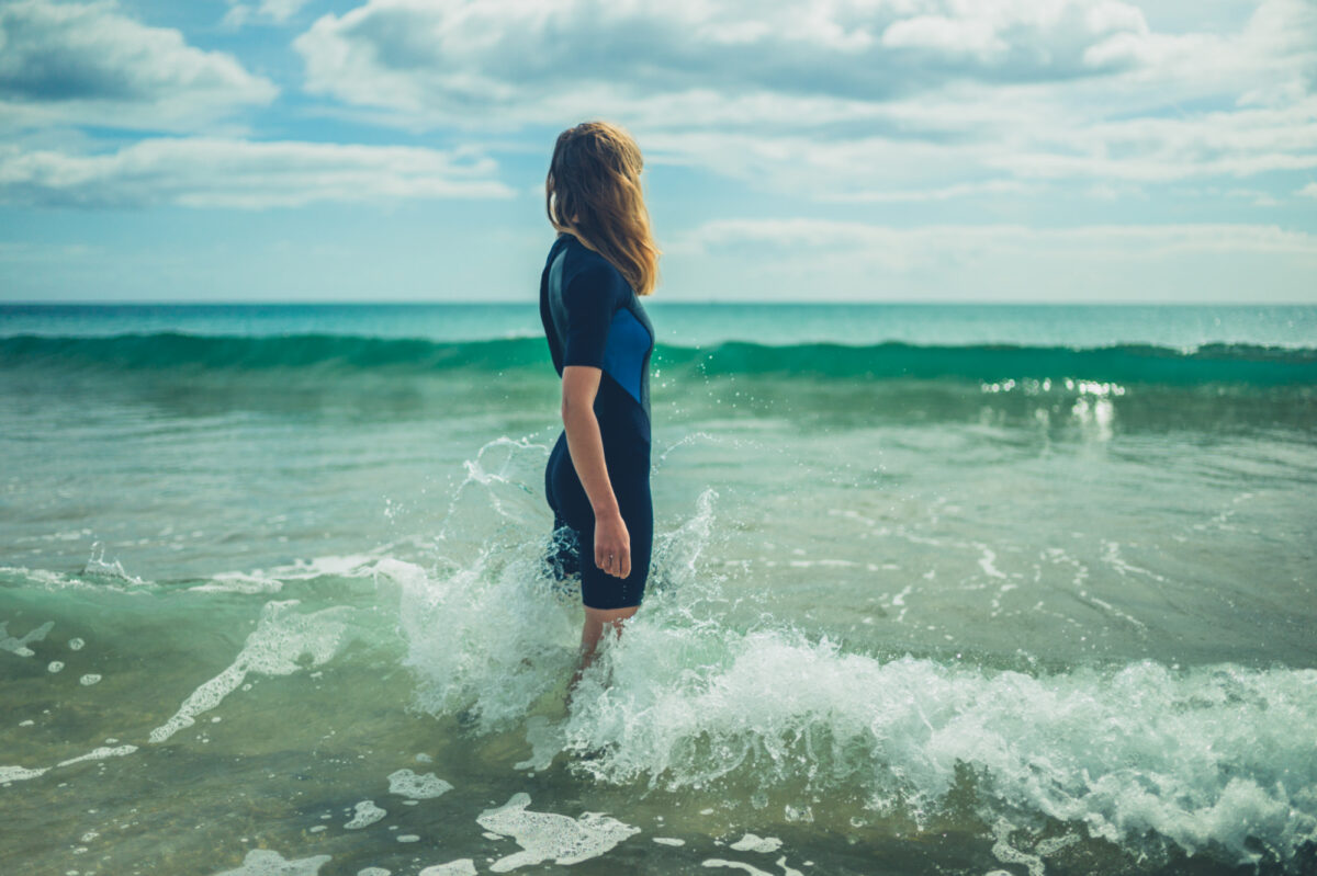 Woman wearing wetsuit in waves