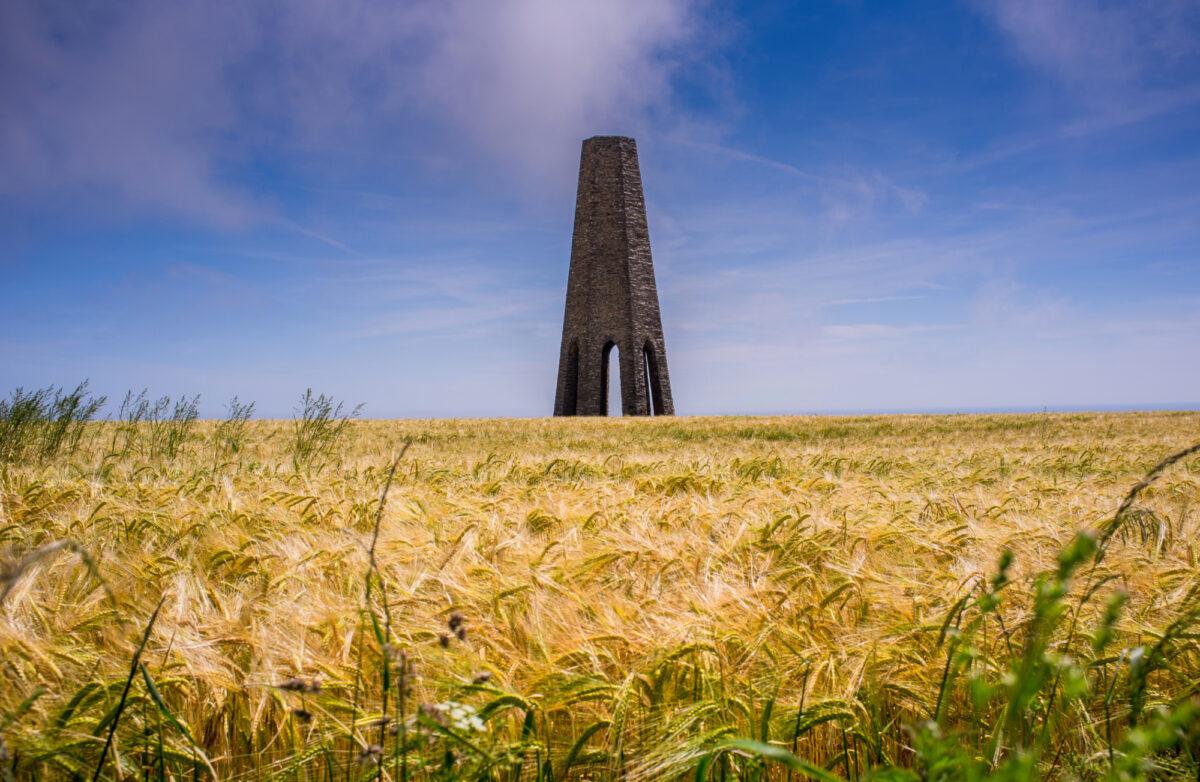 Daymark navigation tower at Kingswear in a field